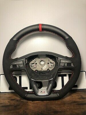 SEAT 6F LEON IBIZA ARONA FLAT BOTTOM STEERING WHEEL FR SUEDE TRIM RED STITCHING
