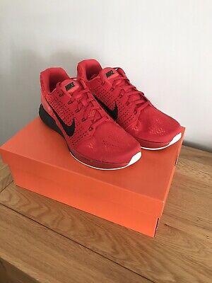 Nike Lunarglide 7 UK Mens Size 10, Black/Red/Bright Crimson, Brand New!