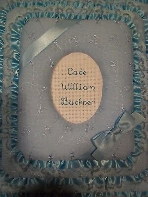 BABY BOY - BLUE EYELET Personalized Fabric Photo Album / Scrapbook - HANDMADE ()