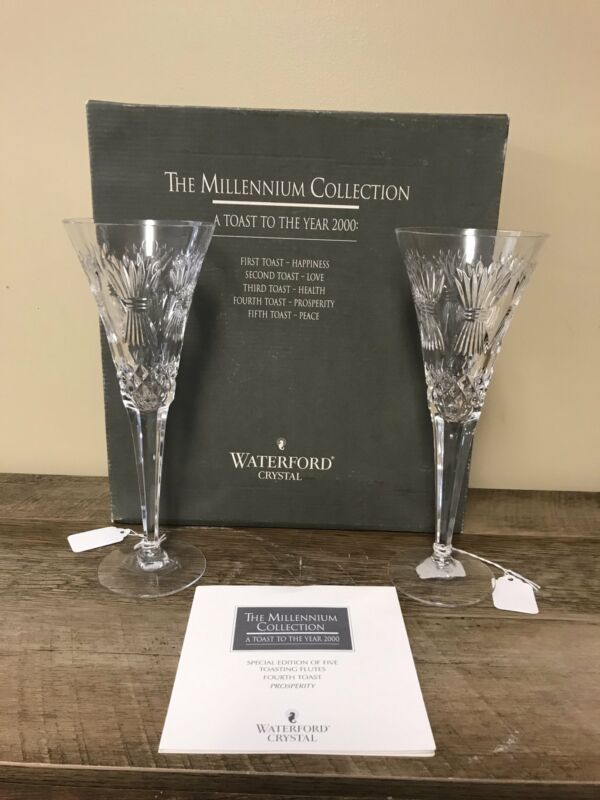 Waterford Crystal MILLENNIUM Champagne PROSPERITY Fourth Toasting Flutes Pair/2