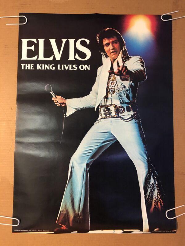 Elvis Presley The King Lives On Microphone Original Vintage Poster Pin-up 1977