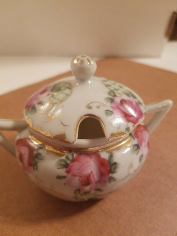 Vintage Hand Painted Small Porcelain Sugar Bowl and Lid -  1880