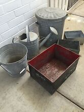 Galvanised Boxes, Tomlin Bin, Willow Bucket & Watering Can Brighton East Bayside Area Preview