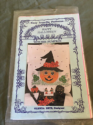 Vtg Halloween Easy Iron On Painting Pattern Witchie Pumpkin Glenda's Fashion  - Easy Halloween Pumpkin Crafts