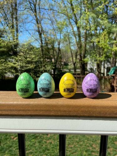1994 set of 4 White House Easter Eggs, Clinton, speckled colors