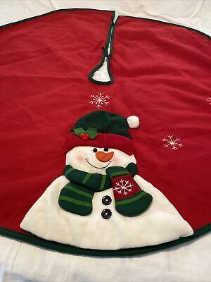"RED Heavy Felt Xmas TREE SKIRT 48""WITH GREEN TRIM SNOWMAN Appliqué SNOWFLAKES !!"