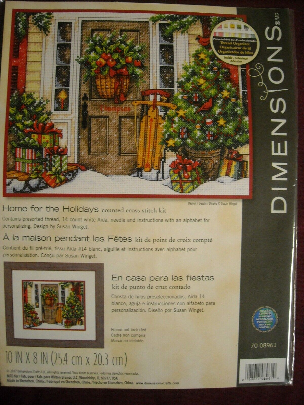 """Dimensions Counted Cross Stitch Kit 10""""X8""""-Home For The Holi"""