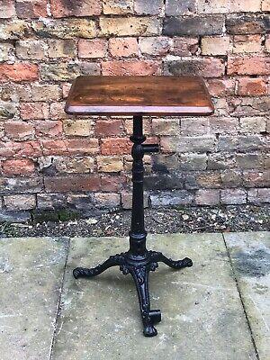 1920's Industrial Metal Machinist Garden Table With New Wooden Top.