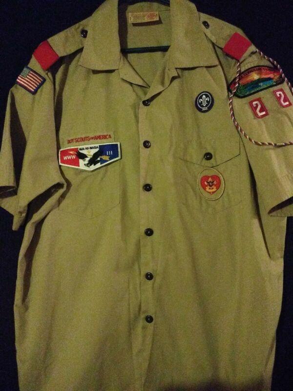 Boy Scouts of America Uniform Shirt w/ Patches Size MEN