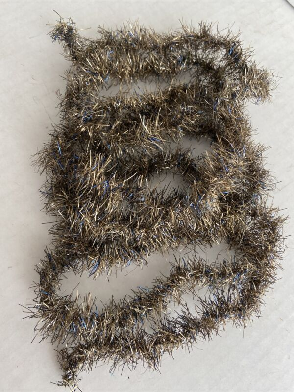 "Vintage Christmas Victorian Tinsel Garland German Gold Silver Blue 72"" Feather"