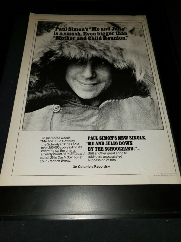 Paul Simon Me And Julio Down By The Schoolyard  Rare Promo Poster Ad Framed! #2