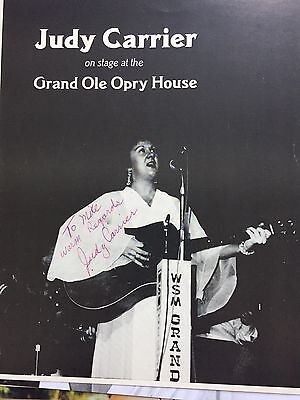 Hand Signed  Photo Judy Carrier  Grand Ole Opry