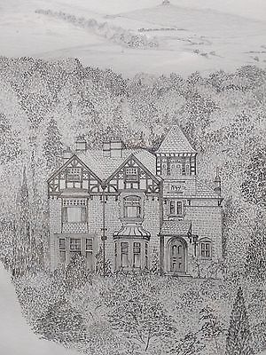 FINE ORIGINAL 20TH C. PENCIL DRAWING OF A COUNTRYSIDE HOUSE - SIGNED MORRIS, 75