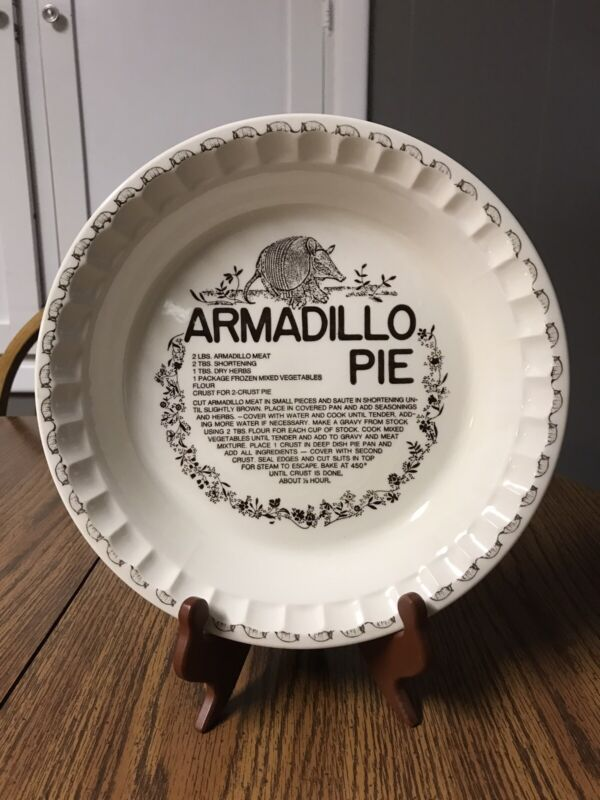 Vintage Collectible Hard To Find Armadillo Pie Plate With Recipe-Royal China Co
