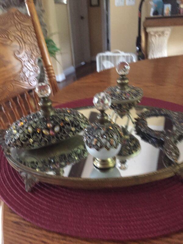 Vintage Dresser Vanity Perfume Set Beautiful Filigree Hollywood Regency Jeweled