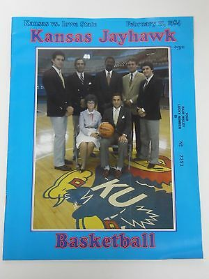 Vtg 1983 ISU VS. KANSAS JAYHAWKS BASKETBALL KU PROGRAM LARRY BROWN JOHN CALIPARI