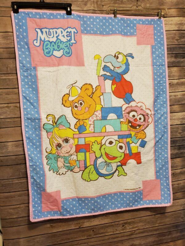 """Vintage Muppets Baby Quilt Kermit Miss Piggy Fozzie Animal 33""""x43.5"""" Henson 1984"""