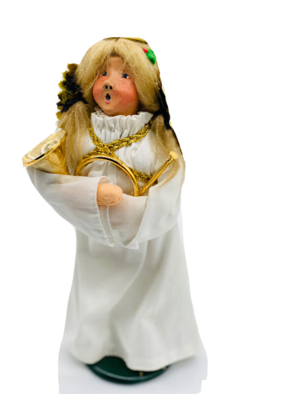 Byers Choice Retired 1990 Blonde Nativity Angel French  Horn