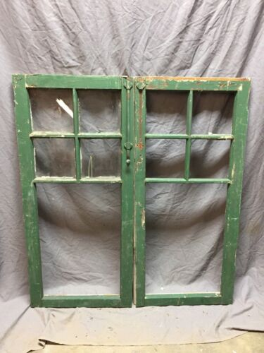 Pair Antique 5 Lite Casement Cabinet Door Window Vintage Old 19X40 417-18C