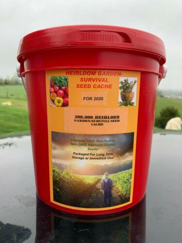 300,000 Seed Garden /Survival Emergency Heirloom Vegetable Cache 50 + Varieties