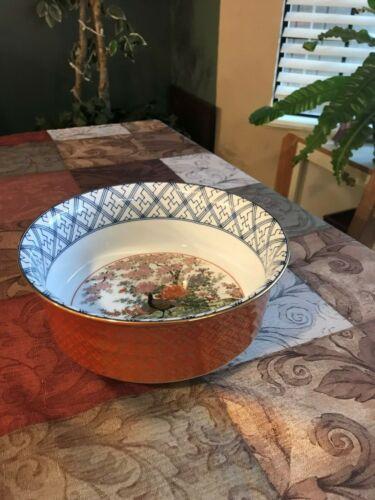 "Vintage Oriental Asian Porcelain 8"" Round Bowl  Peacock Floral & Gilt Marked"