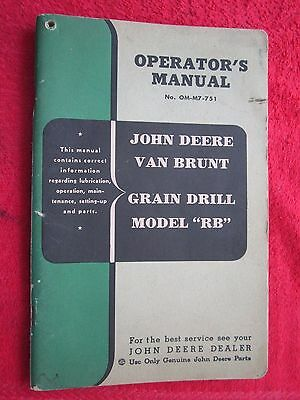 Original John Deere Van Brunt Grain Drill Model Rb Operators Parts Manual