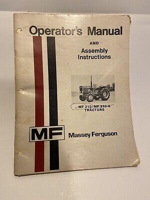 Massey Ferguson Mf 210 Mf 210-4 Mf210 Mf210-4 Tractor Owner Operators Manual