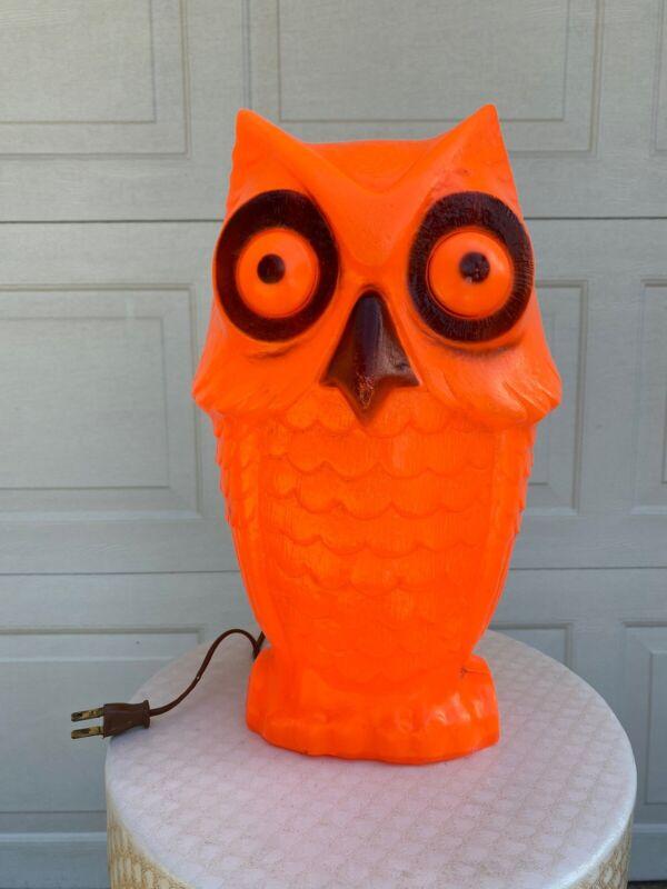 Vintage Halloween Owl Blow Mold Light Up Decoration
