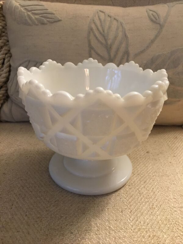 Westmoreland White Milk Glass Footed, Cupped Bowl - Old Quilt - Scalloped Top