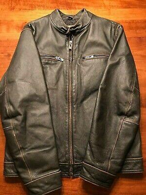 GUESSMen's Dark Brown Leather Jacket Motorcycle Vintage Style Medium.