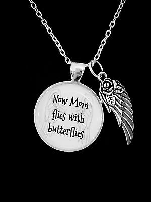 Now Mom Flies With Butterflies Guardian Angel Wing Heaven Memorial Gift Necklace - Butterfly With Angel Wings