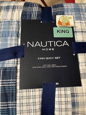 NAUTICA DANVERS PATCHWORK NAVY GRAY  KING QUILTED COVERLET KING  SHAMS 3PC