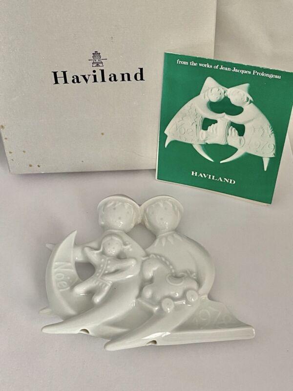 1978 HAVILAND Limoges FRANCE Porcelain SLEDDING ANGELS Christmas Ornament IOB