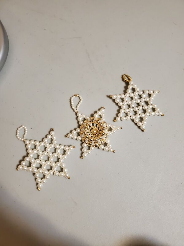Lot of 3 Handcrafted CHRISMONS Christmas Ornaments 6 point stars