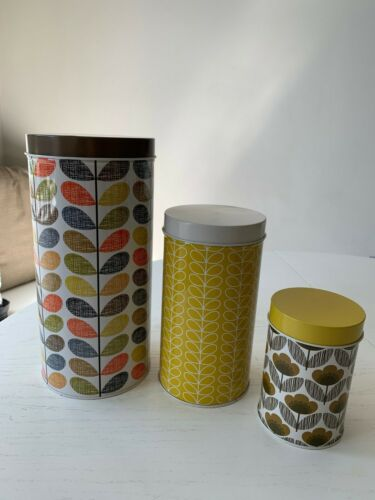 Set of 3 Orla Kiely House STEM Kitchen Canisters Nesting Mid Century Modern 2012