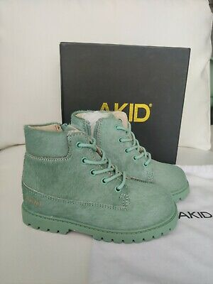 Akid Atticus Boots Teal green pony zipper size 10 toddler girls NEW Dr. martens