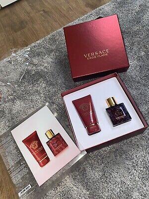 Versace Eros Flame 30ml Spray 50ml Shower Gel. Gift Set Men's RRP £48. Brand New