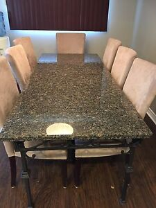 Custom made granite dining room table & 8 chairs