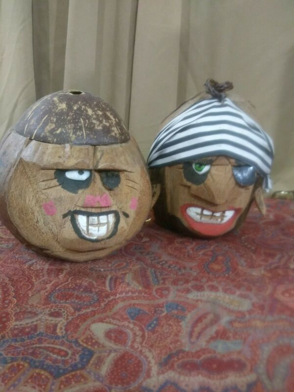 Lot 2 Coconut Pirate Heads | Carved Coconut Shell Pirate Heads