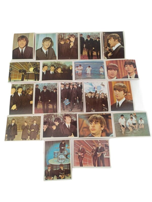 20 Beatles Trading Cards 1964 Color Orange Back Topps TCG 1 card offset cut