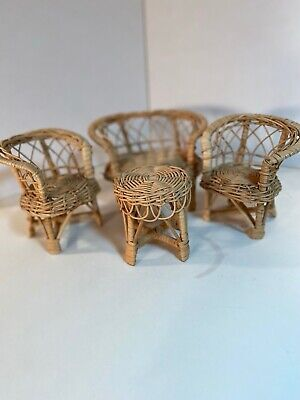 4 Pc Set of Vintage Wicker Rattan Furniture Doll House Barbie Size Couch Chairs