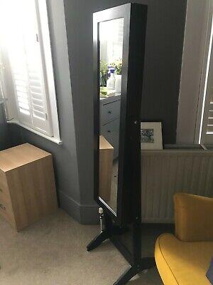 Free Standing Mirror With Jewellery Cupboard - Black/dark brown wood