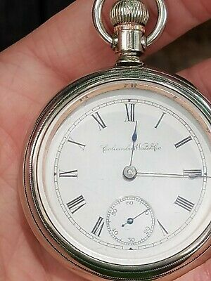 Serviced 1892-3 Columbus 18s Pocket Watch, Polished Case, Runs