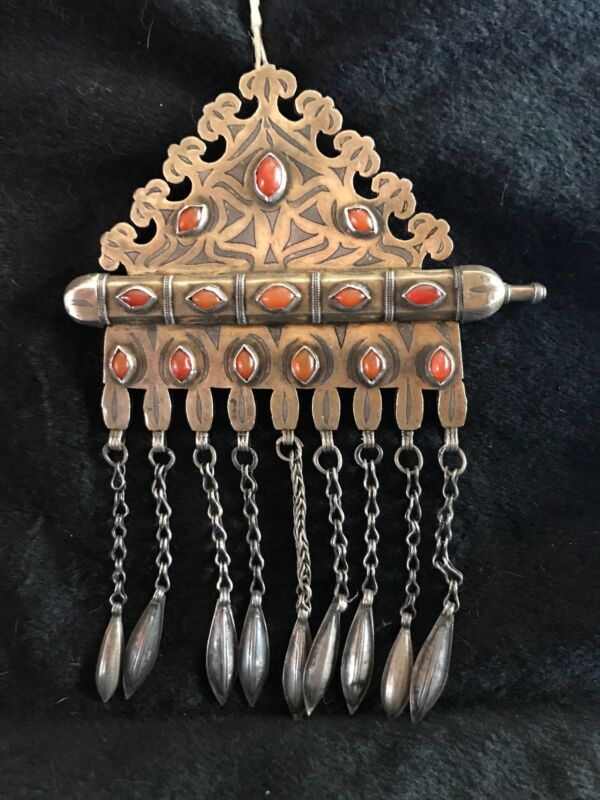 Old Tekke Turkoman Silver Niello Carnelian Jewelry/Art Islamic Prayer holder