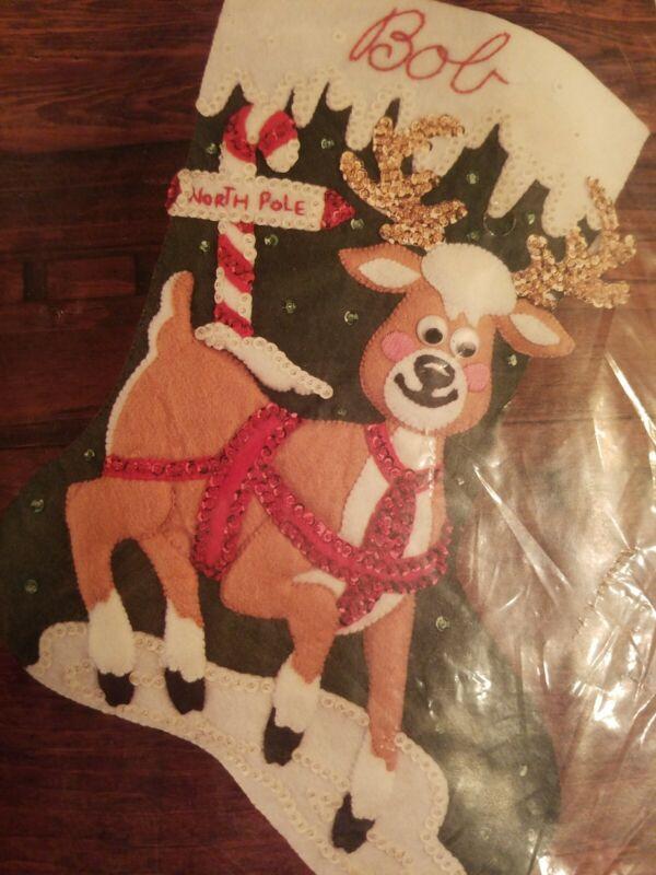 "Bucilla North Pole Reindeer Felt Stocking Kit 32965 Gallery Of Stitches NEW 15"""