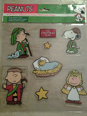 SNOOPY & PEANUTS GANG CHRISTMAS NATIVITY MINI CLING 8pc DOUBLE SIDED SET retired