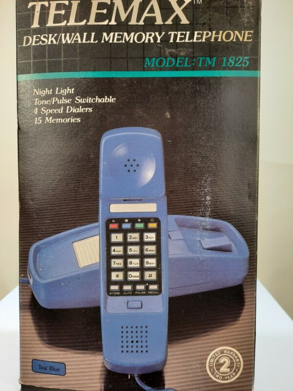 Vintage Telemax Desk/Wall Memory Phone Blue Model TM 1825 New In Box