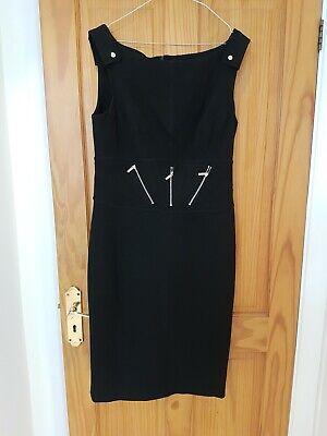 Karen Millen Size 16 Black Sleeveless Pencil Dress With Zip Detail Dry Cleaned