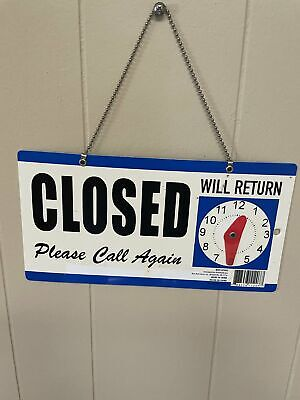 Business Openclosed Double Sided Hanging Sign Return Clock Chain Hanger