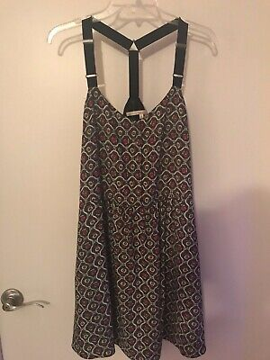 RACHEL ROY sun dress jumper Suspender Adjustable Straps Pockets Buttons XL ()